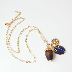 Tory Burch Blue Enamel Beetle Pine Cone Necklace